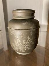 """More details for vintage japanese pewter tea ceremony caddy/urn signed at base """"sheng zhang"""""""