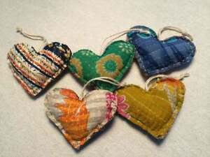 Set 10 Kantha Heart Pillow Valentines Ornaments Handmade Christmas Xmas Holiday