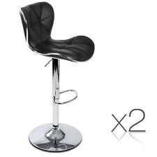 2x Bar Stools Kitchen Barstool PU Faux Leather Chrome Chair Gas Lift Black @top