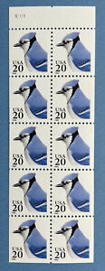 Scott #2483a BLUE JAY One Booklet Pane of 10 US 20¢ Stamps MNH 1995