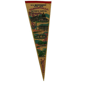 "Bicentennial 1976 Nations Capital Washington DC 27"" Felt Souvenir Pennant Flag"