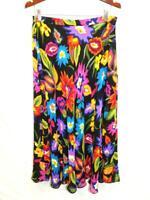 Coldwater Creek M Black Orange Yellow Purple Blue Floral Skirt A Line Midi Md