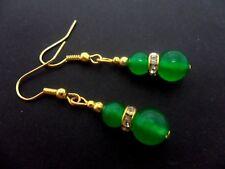 Un par de grano verde jade chapado en oro Pendientes Colgantes. Nueva.