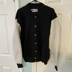 Vtg Distressed Russell Athletic High Cotton Button Jacket Sweatshirt Size Large