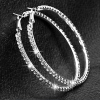 Certified 3.00 Ct White Round Cut Diamond Hoop Earring Solid 14K White Gold