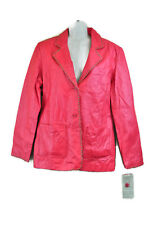 Pink Leather Jacket 12 Coat Coral Lined MetroStyle Biker Trendy Fashion Punk