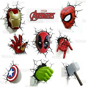 Marvel Avengers 3D Wall Light Spider-man Hulk Iron Man Captain America Thor 3DFX