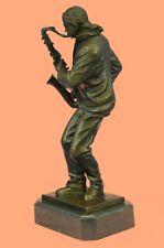 Art Deco Handcrafted Sax Saxophone Player Bronze Masterpiece Marble Decorative