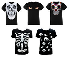 womens halloween printed t shirts costume skull skeleton top ladies plus size