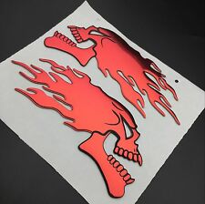 3D Raise Red Flaming Skull Skeleton Emblems Badge Decal Fuel Tank Fairing Fender