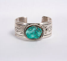 Mary & Richard Thomas Navajo Sterling Silver Turquoise Heavy Cuff Bracelet 107g