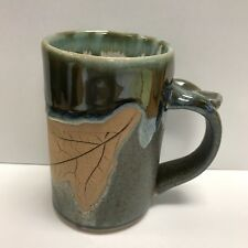 Ceramic Artisan Mug Handcrafted By Local Potter Leaf Design Tea Coffee Cup 05A