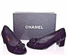 CHANEL Women's Shoes Black Velvet Velour Pumps Chanel Camellia Logo Size 38.5