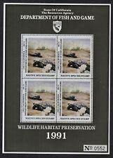 DESERT TORTOISE, 1991 CALIFORNIA NATIVE SPECIES STAMP, SOUVENR SHEET/4. MINT XF