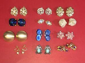 Lot of 12 Vintage Clip Screwback Earrings Lisner Van Dell Sarah Coventry