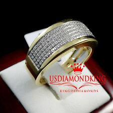 MEN'S BOLD 10MM 14K YELLOW GOLD PLATED 1/2 CTW GENUINE DIAMOND WEDDING RING BAND