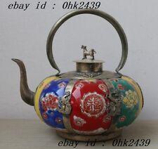old china handwork pumpkin shape porcelain teapot armored dragon Phoenix