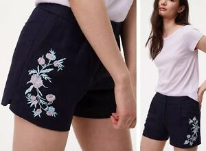 NWT Ann Taylor LOFT Floral Embroidered Shorts $60 Size 0 Forever Navy 10