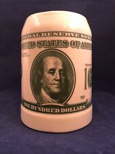 Benjamin Franklin $100 One Hundred Dollar Bill Green Money Stein Tankard Mug Cup