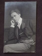 WELL DRESSED MAN IN SERIOUS POSE,  RESTING FACE ON HAND Vtg REAL PHOTO POSTCARD