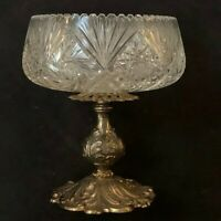 Vintage Crystal Cut Glass Bowl with Stand