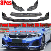3X Carbon Fiber Look Front Bumper Lip Spoiler Splitter For BMW G20 G28  √ !*
