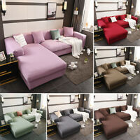 Solid Stretch Corner Chair Sofa Covers Couch Cover Elastic Slipcover New