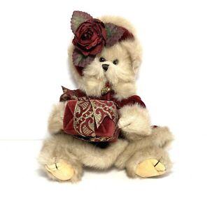 "13"" Jointed Teddy Bear The Bearington Collection Velvet Coat Hat & Present"