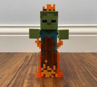 Minecraft ZOMBIE IN FLAMES 5 Inch Action Figure Mattel 2015 HTF VGUC