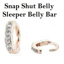Snap Shut Delicate Sleeper Navel Ring Gold and Clear Crystal Paved Belly Bar