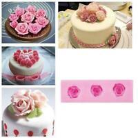 3D Silikon Rose Flower Fondant Kuchen Dekorieren Mold Schokoladenform Backe Q1K2