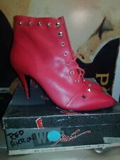 Wild Pair Red Leather Studded Ankle Boots VERY RARE! NIB! 90s Vintage!Size 8