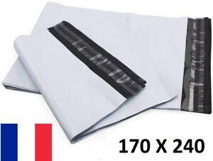 50X Enveloppe Plastique 170x240+40mm Adhésif Blanche Opaque Indéchirable 60u