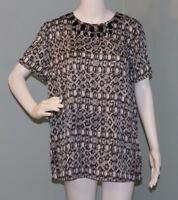 NWT Womens Michael Kors Short Sleeve Jewel Print Black/White Blouse Top Size 10