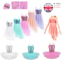 UK Kids Girls Ballet Dress Lyrical Sequin Ballerina Dancewear Tutu Skirt Costume