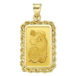 2.5 Gram Pamp Suisse .999 Lady Fortuna Bar Pendant 22MMX13MM Encased in 14k Gold