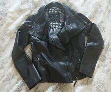 New BOD & CHRISTENSEN Soft Leather Moto Asymmetrical Zip Drape Collar Jacket S