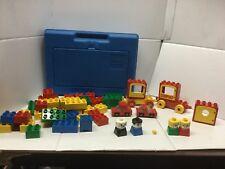 Vintage1983 Blue LEGO Plastic Storage Box With Duplo Lot and 2 LEGO Trucks Manua
