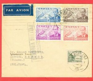 Spain Topic HELICOPTER 4 diff Stamp used on cover MILITARY Censor to USA 1939