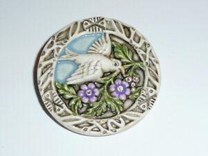 "Beautiful White Bird Bird Carrying Leaf Flowers Art Stone Shank Button - 1-9/16"""
