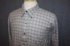 IKE BEHAR Light Gray Flannel Check Cotton Winter Weight Dress Shirt Size Large