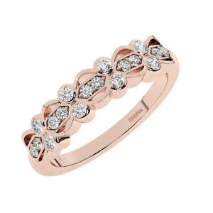 5 MM Pave Set Round brilliant Cut Diamonds Half Eternity Ring in 18K Rose Gold