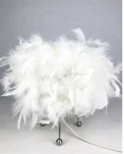 Feather Table Lamp Shades Lampshade Elegant Bedside Night Light White Decor 25cm