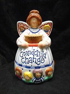 Pennies From Heaven Ceramic Grandchild Change Coin Money Funds Bank Jar #132150