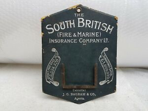 1910s Antique The South British Fire & Marine Insurance Paper Sign New Zealand