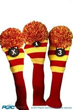 1 3 X Classic RED YELLOW KNIT POM golf club Headcover throwback Head covers Set