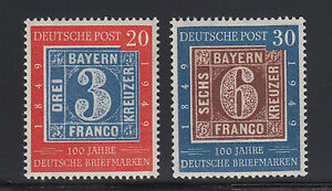 Germany Sc 667-668 MNH. 1949 German Stamp Centenary, Postage cplt F-VF