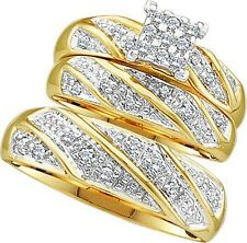 10K Mens And Ladies Cluster Engagement Wedding Diamond Ring Trio Band Set