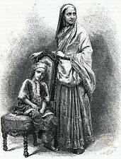 Antique print India / portrait Parsi Parsee woman and child 1871