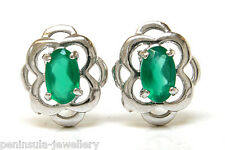 9ct White Gold Celtic Green Agate Studs Earrings Made in UK Gift Boxed Xmas Gift